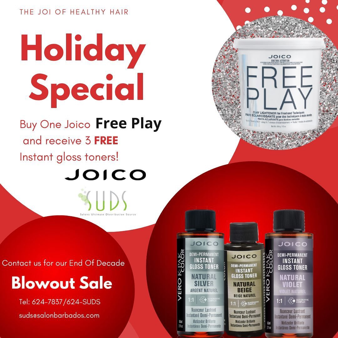 END OF DECADE BLOWOUT SALE!  Take part in excellent savings this Christmas with SUDS! Buy one Joico FREE PLAY and receiv…