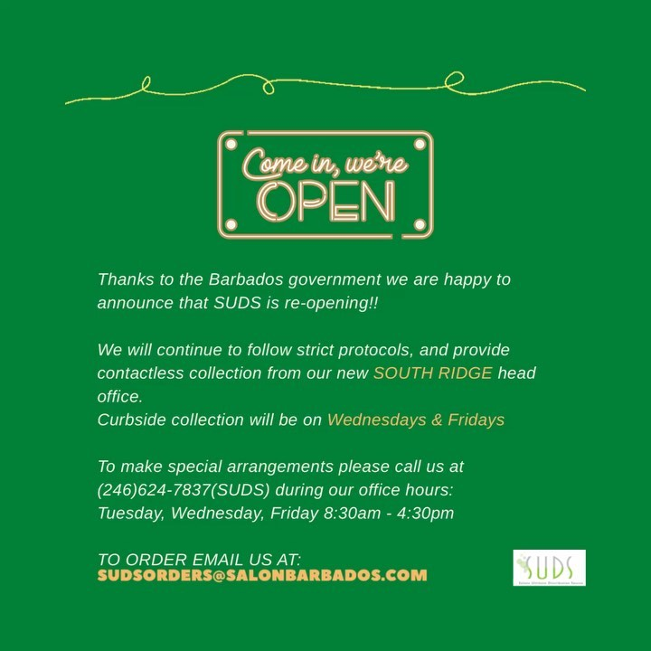 Happy weekend everyone! We are happy to announce that starting next week, SUDS will be officially re-opening for contact…