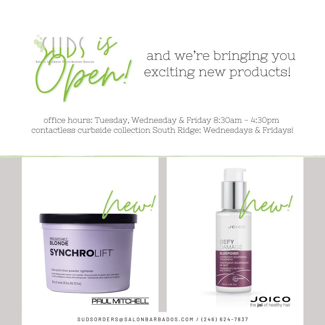 SUDS is happy to be back! And we're introducing 2 new products to our stock. JPM SynchroLift bleach powder, and Joico's …